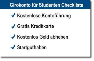 Girokonto für Studenten Checkliste